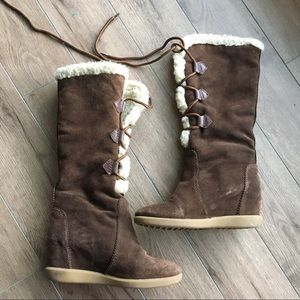 Nine West knee wedge suede lace up winter Boots